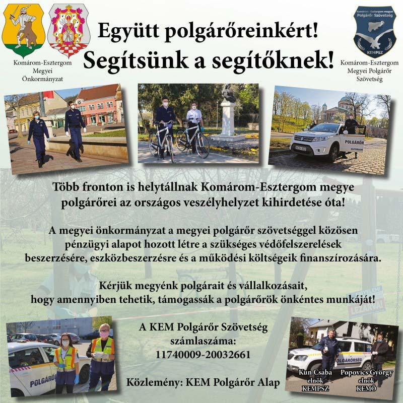 Együtt polgárőreinkért! Segítsünk a segítőknek!